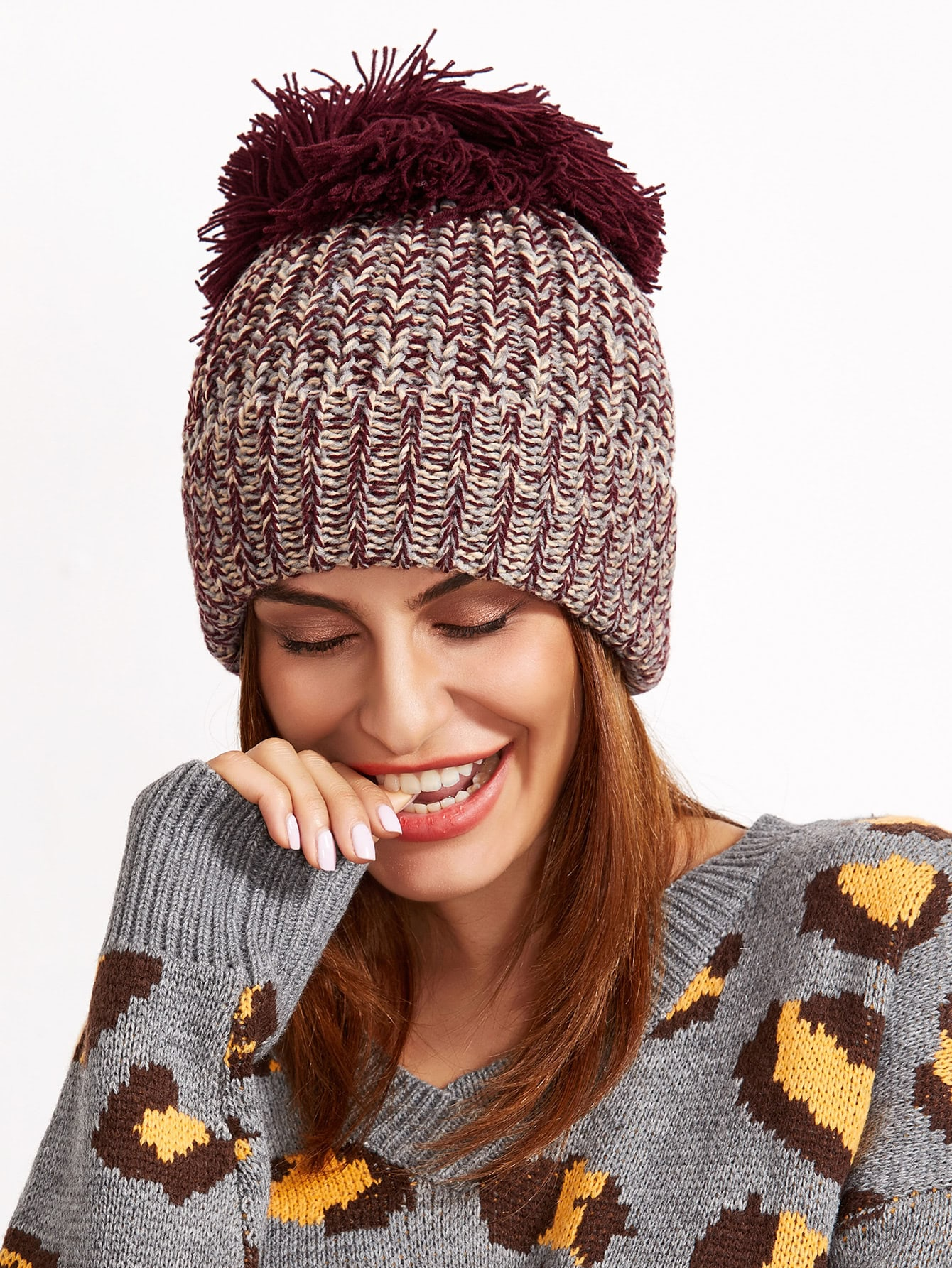 Marled Ribbed Big Pom Pom Knit Beanie Hat hat161117303
