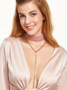Pink Faux Pearl Velvet Choker Linear Neckalce