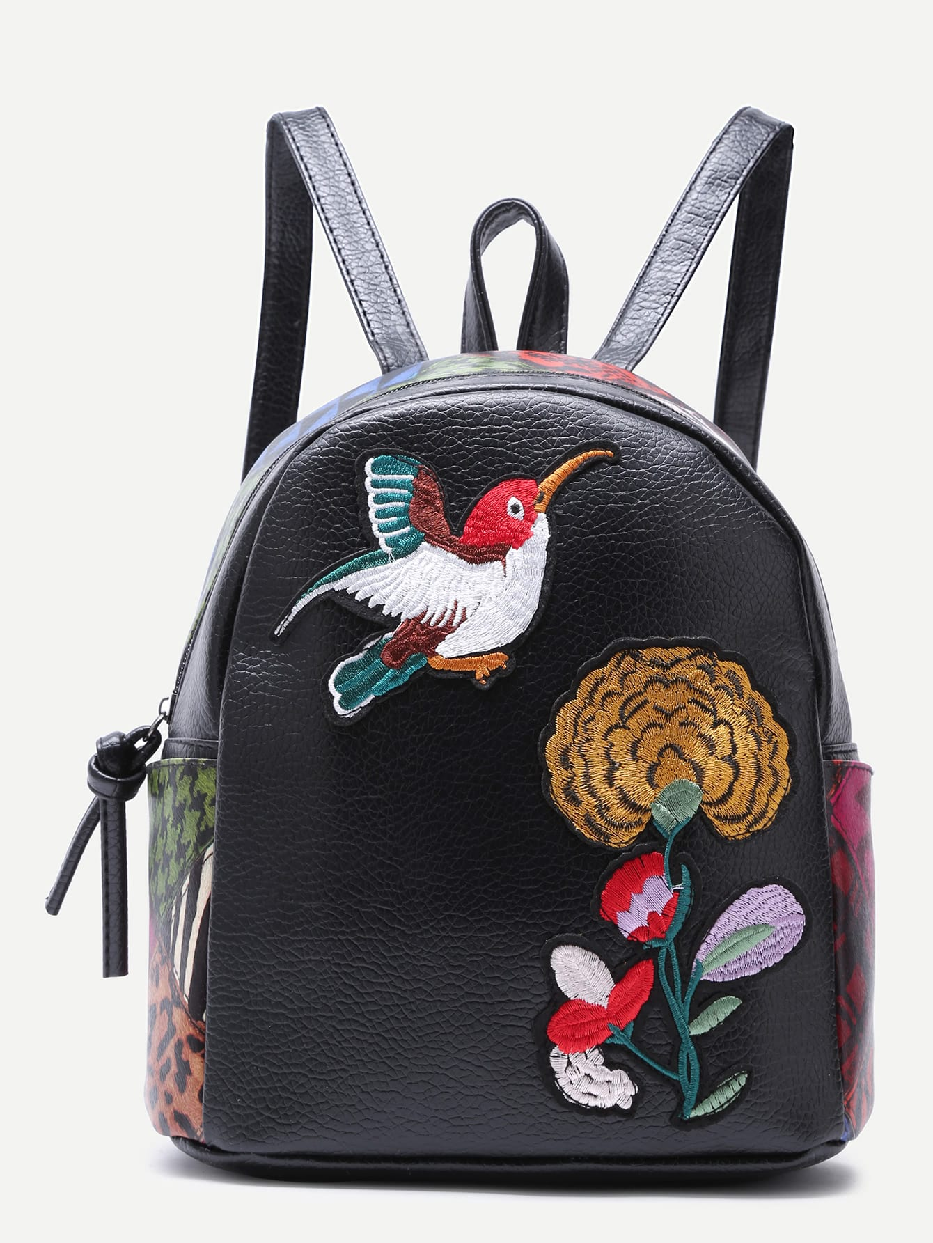 Black Sparrow and Chrysanthemum Embroidered PU Backpack mukund shiragur d p kumar and venkat rao chrysanthemum genetic divergence