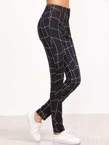 Pantalones skinny con estampado de línea curva - negro