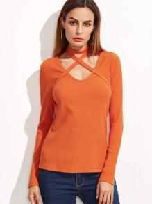 Orange Ribbed Knit T-shirt With Crisscross Halter Detail
