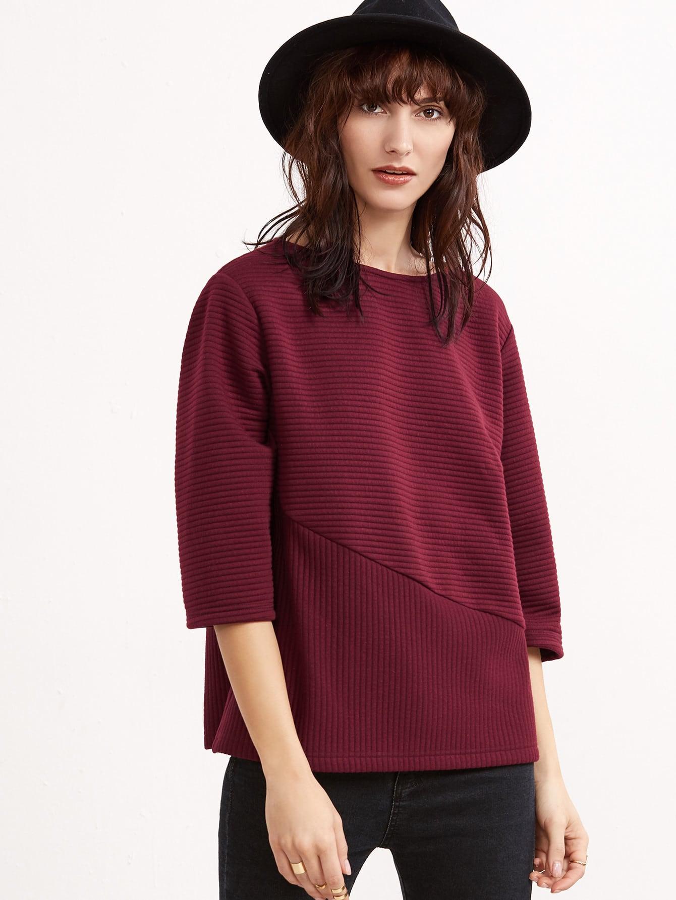 Burgundy 3/4 Sleeve Cut And Sew Ribbed Sweatshirt sweatshirt161129703