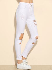 White Drawstring Waist Distressed Skinny Jeans