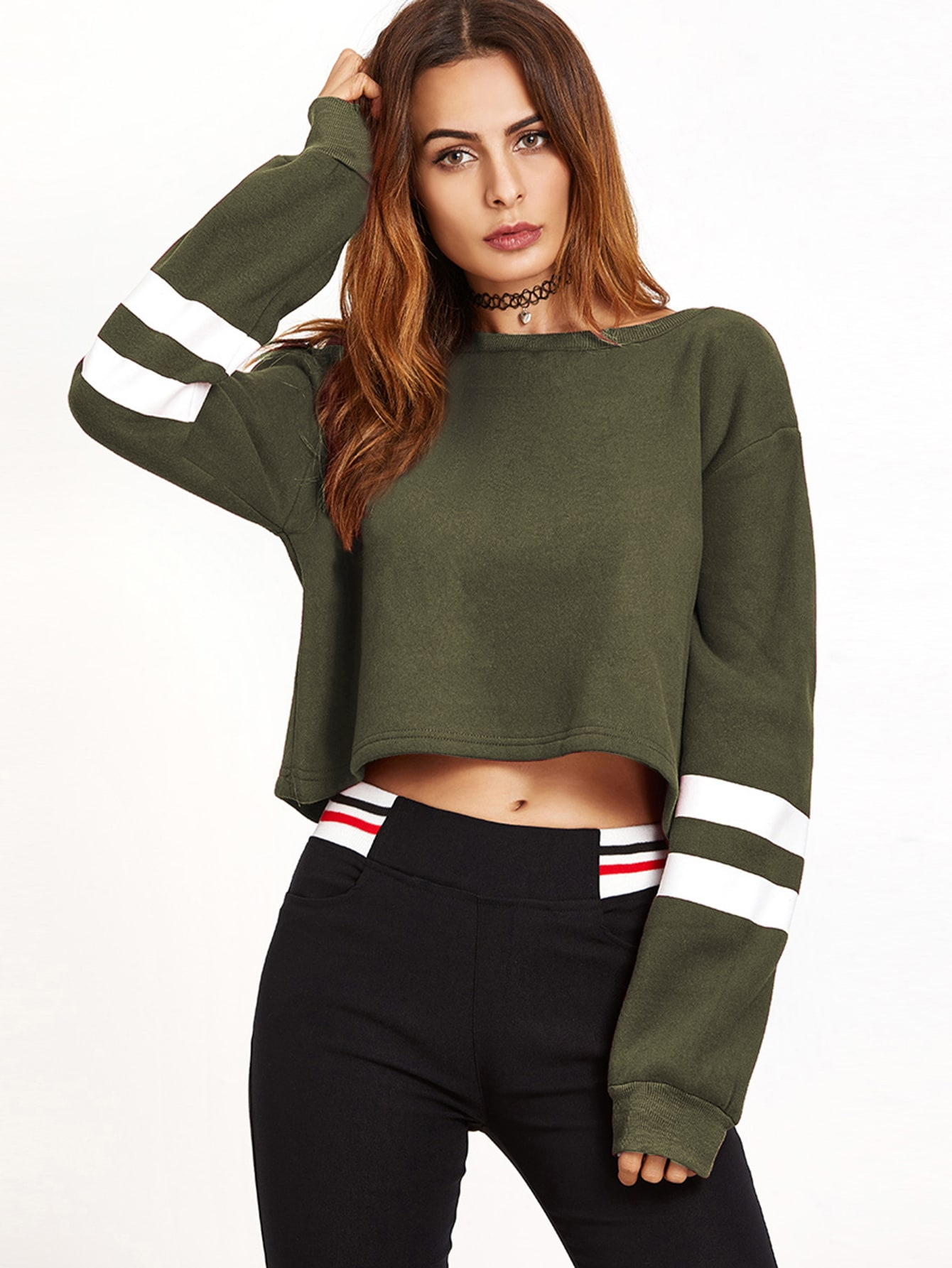 Army Green Drop Shoulder Varsity Striped Crop SweatshirtArmy Green Drop Shoulder Varsity Striped Crop Sweatshirt<br><br>color: Green<br>size: one-size