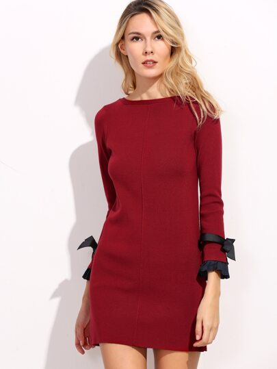 Burgundy Pleated Trim Bow Embellished Sweater Dress