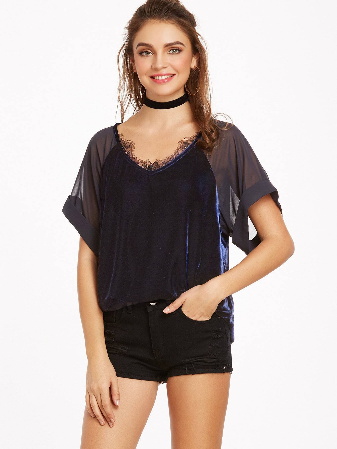 Navy Sheer Raglan Sleeve Lace Trim Velvet Top