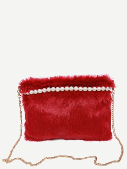 Red Beaded Faux Fur Clutch With Chain Strap