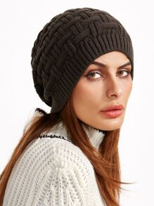 Brown Knit Textured Casual Beanie Hat
