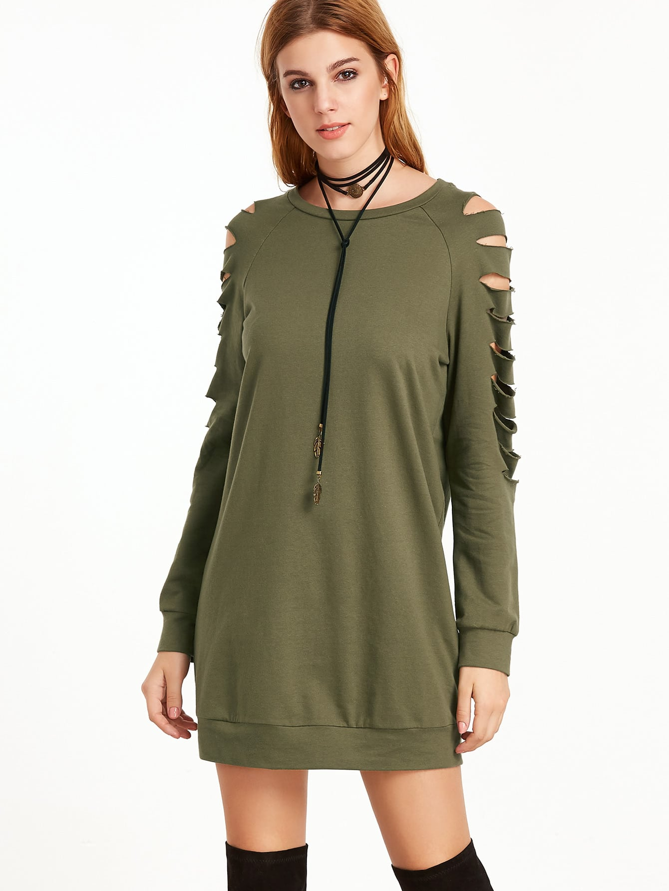 Olive Green Ripped Raglan Sleeve Sweatshirt DressOlive Green Ripped Raglan Sleeve Sweatshirt Dress<br><br>color: Green<br>size: M,S,XS