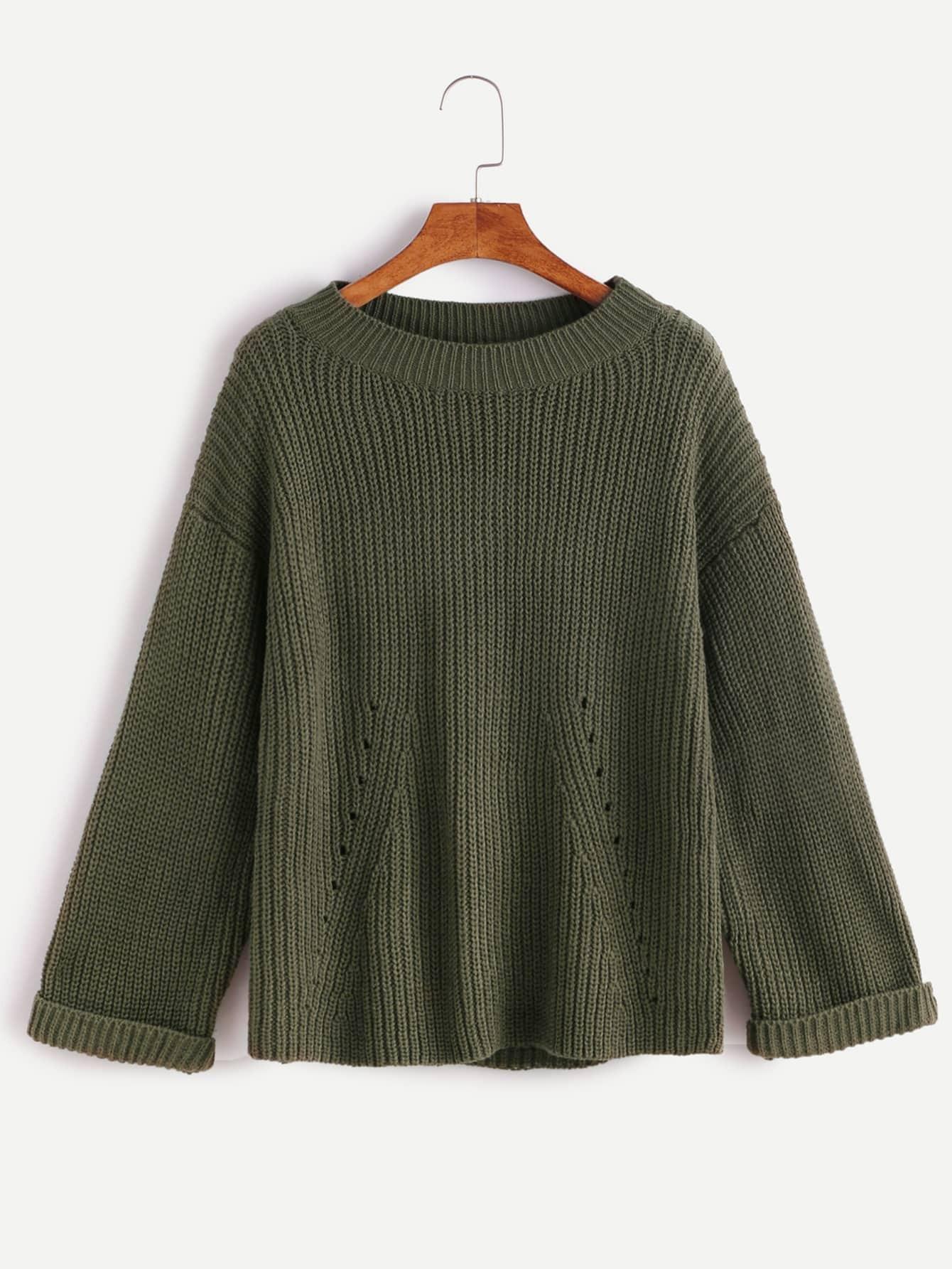 Army Green Drop Shoulder Hollow Cuffed Frayed SweaterArmy Green Drop Shoulder Hollow Cuffed Frayed Sweater<br><br>color: Green<br>size: one-size