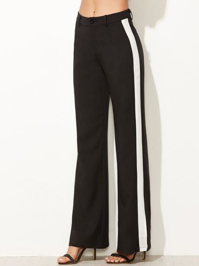 Black Contrast Panel Wide Leg Pants