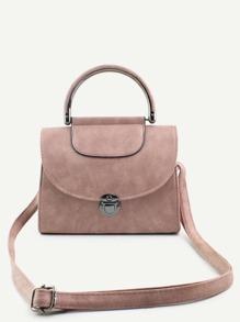 Bolso de mano de PU con asa - rosa