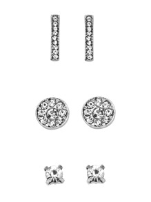 Silver Plated Rhinestone Geometric Stud Earrings Set