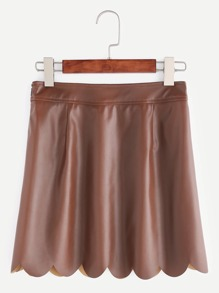 Brown Faux Leather Scallop Edge Skirt