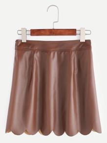 Falda de cuero sintético con ribete festoneado - marrón