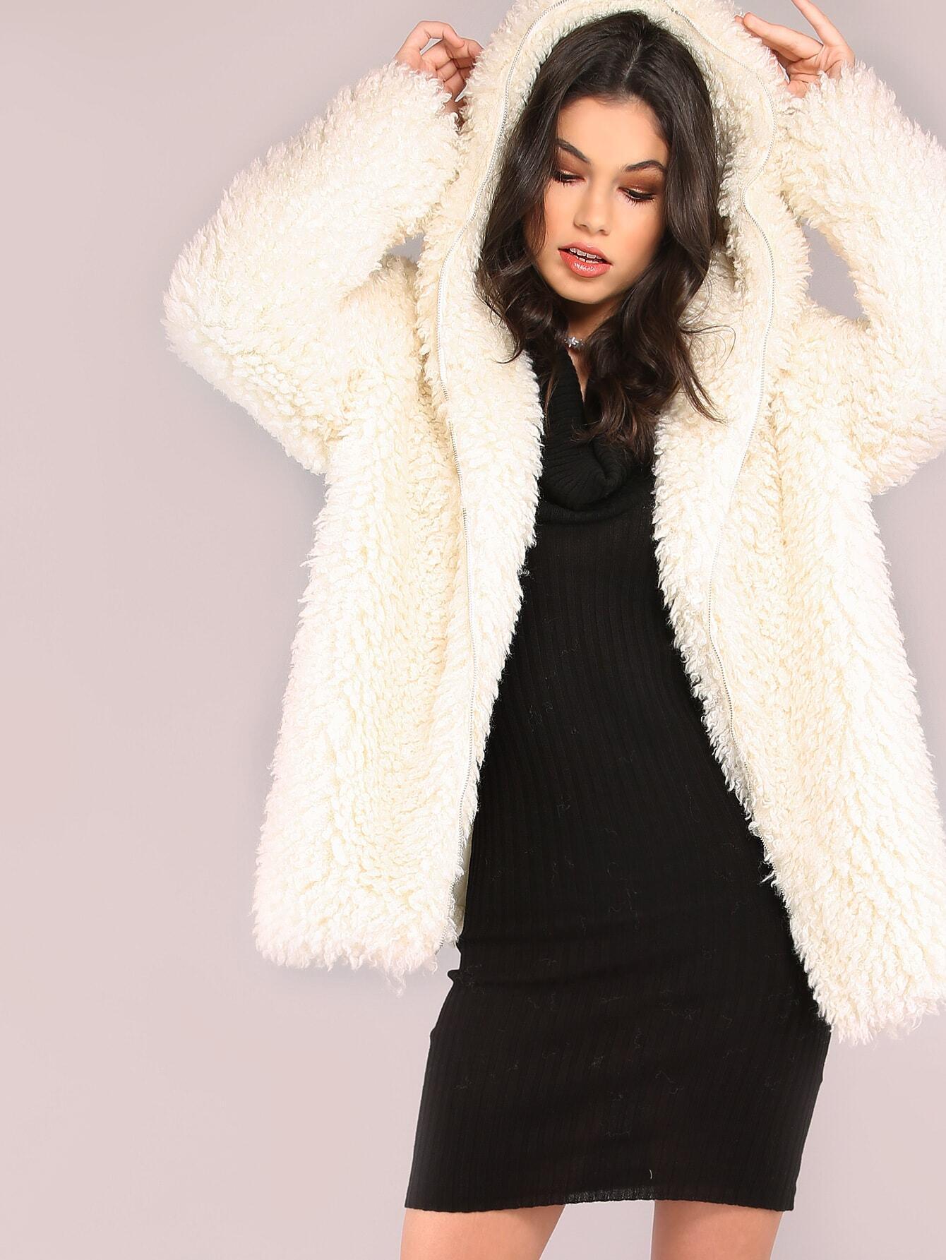 Image of White Zip Up Faux Fur Coat