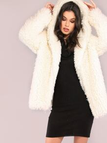 White Zip Up Faux Fur Coat