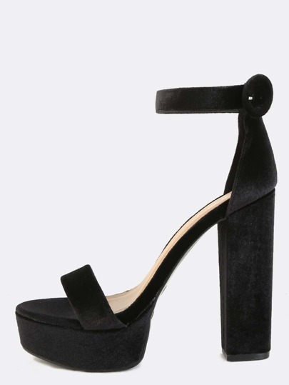 Smooth Velvet Platform Heels BLACK