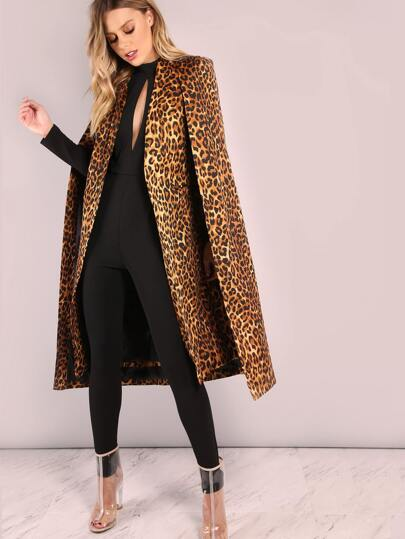 Brown Leopard Collarless Open Front Cape Coat