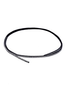 Black Band Silver Metal Studded Wrap Choker Necklace