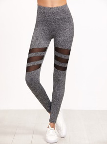 Grey Marled Knit Contrast Mesh Insert Leggings