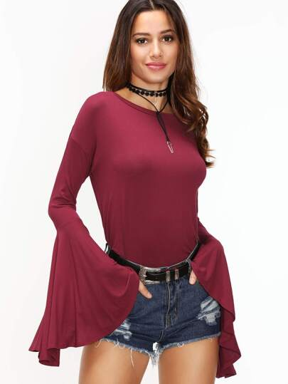 Burgundy Drop Shoulder Oversized Bell Sleeve T-shirt