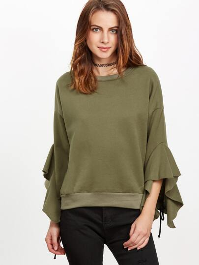 Army Green Drop Shoulder Lace Up Ruffle Sleeve Sweatshirt