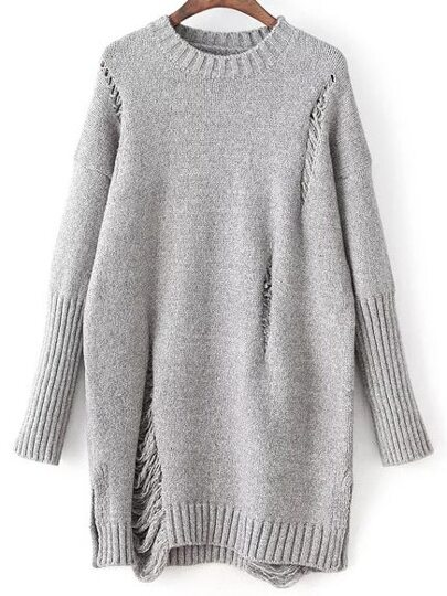 Grey Round Neck Ripped Detail Sweater Dress