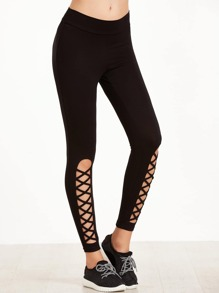 Cutout Lattice Detail Leggings