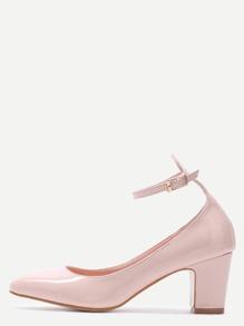 Zapatos de tacón de charol con tira en el tobillo - nude