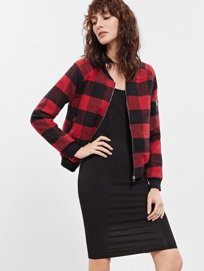 Red Plaid Zipper Pocket Jacket