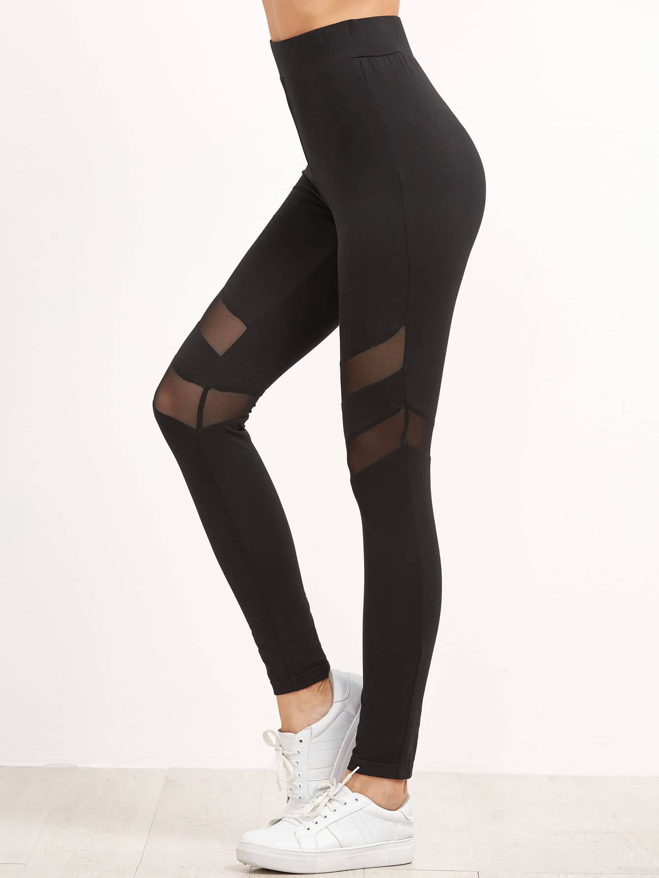 High Waist Leggings With Mesh Panel Detail leggings161118703