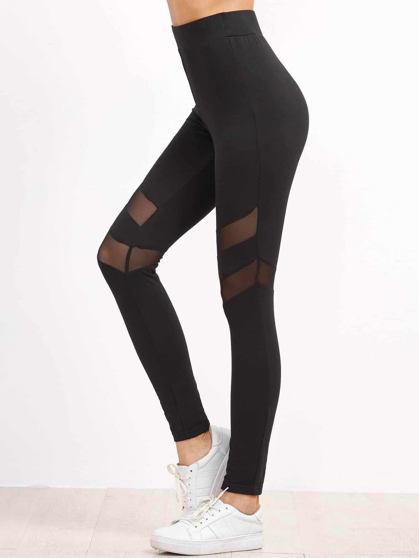High Waist Leggings With Mesh Panel Detail leggings161118703