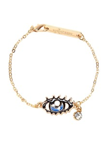 Gold Tone Eye with Tear Design Rhinestone Link Bracelet
