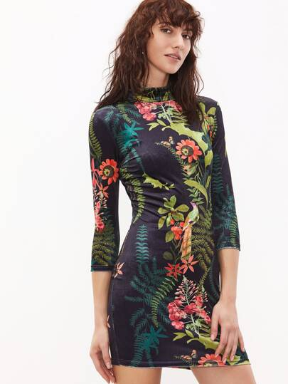 Multicolor Tropical Print Mock Neck Bodycon Dress