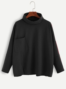 Black Turtleneck Drop Shoulder Pocket T-shirt