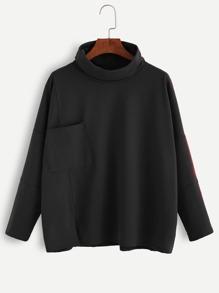 Black Turtleneck Drop Shoulder Pocket T-shirt