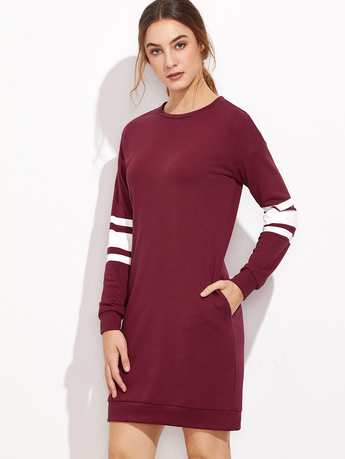 Burgundy Varsity Striped Sleeve Sweatshirt Dress dress161101709