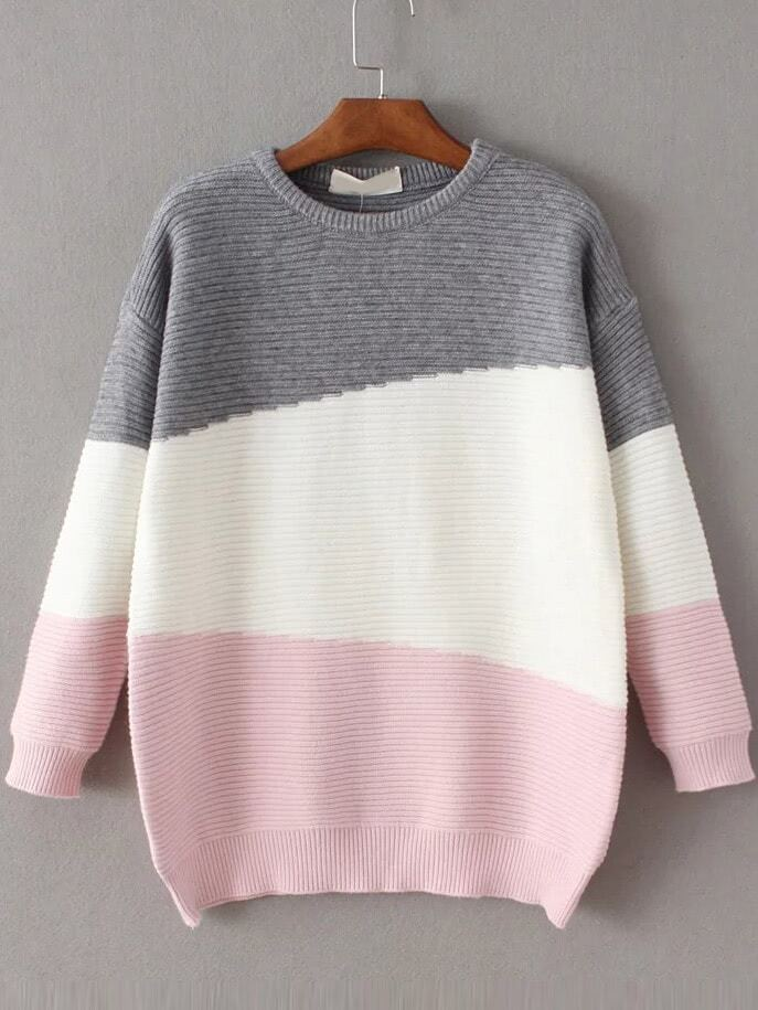 Color Block Ribbed Drop Shoulder Sweater sweater161111215