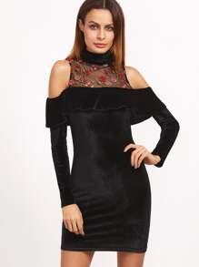 Black Embroidered Mesh Neck Cold Shoulder Ruffle Velvet Dress