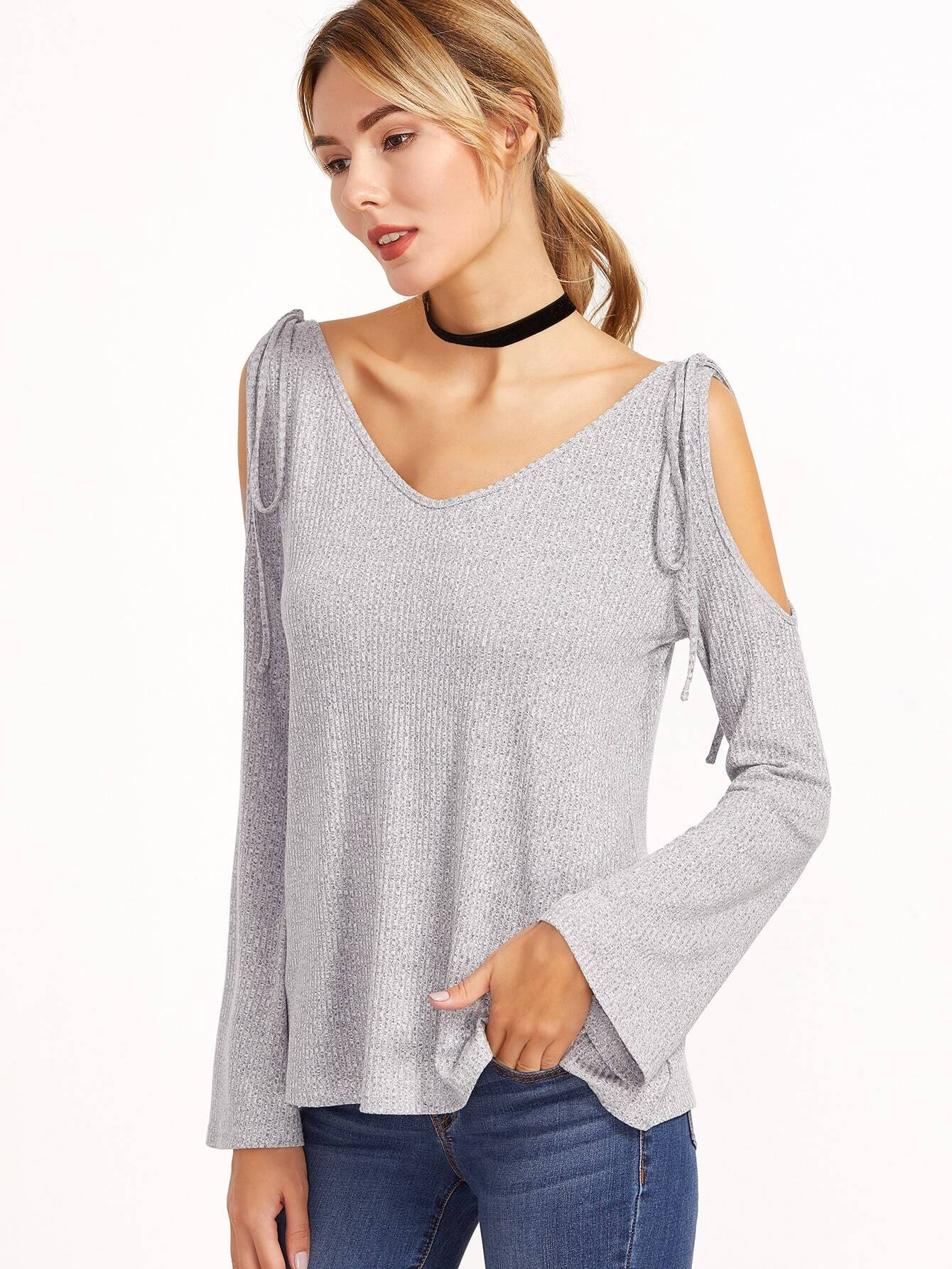 Grey Marled Ribbed Knit Tie Cold Shoulder T-shirt tee161130706