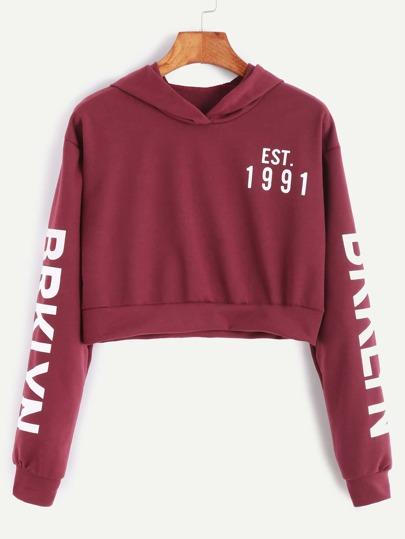 Burgundy Letter Print Crop Hooded Sweatshirt