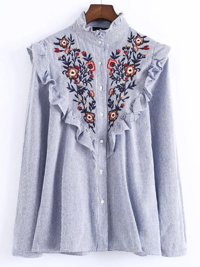 Vertical Striped Flower Embroidered Frill Shirt back pleat embroidered striped shirt
