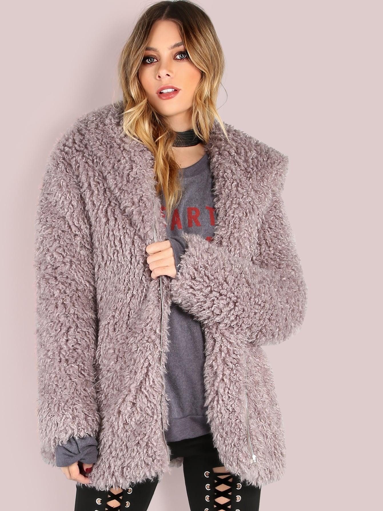 Grey Zip Up Faux Fur CoatGrey Zip Up Faux Fur Coat<br><br>color: Grey<br>size: L,M,S,XS