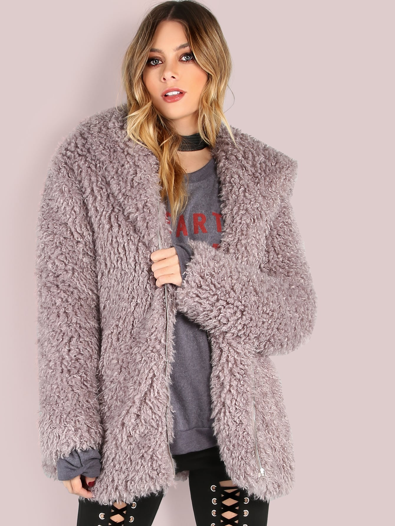 Coats Grey Faux Fur Hooded Cute Elegant Zipper Short Winter Plain Fabric has some stretch Long Sleeve Outerwear.