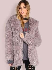 Grey Zip Up Faux Fur Coat