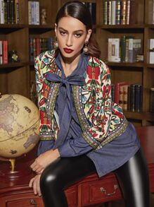 Multicolor Tribal Print Outerwear With Embroidered Tape Detail