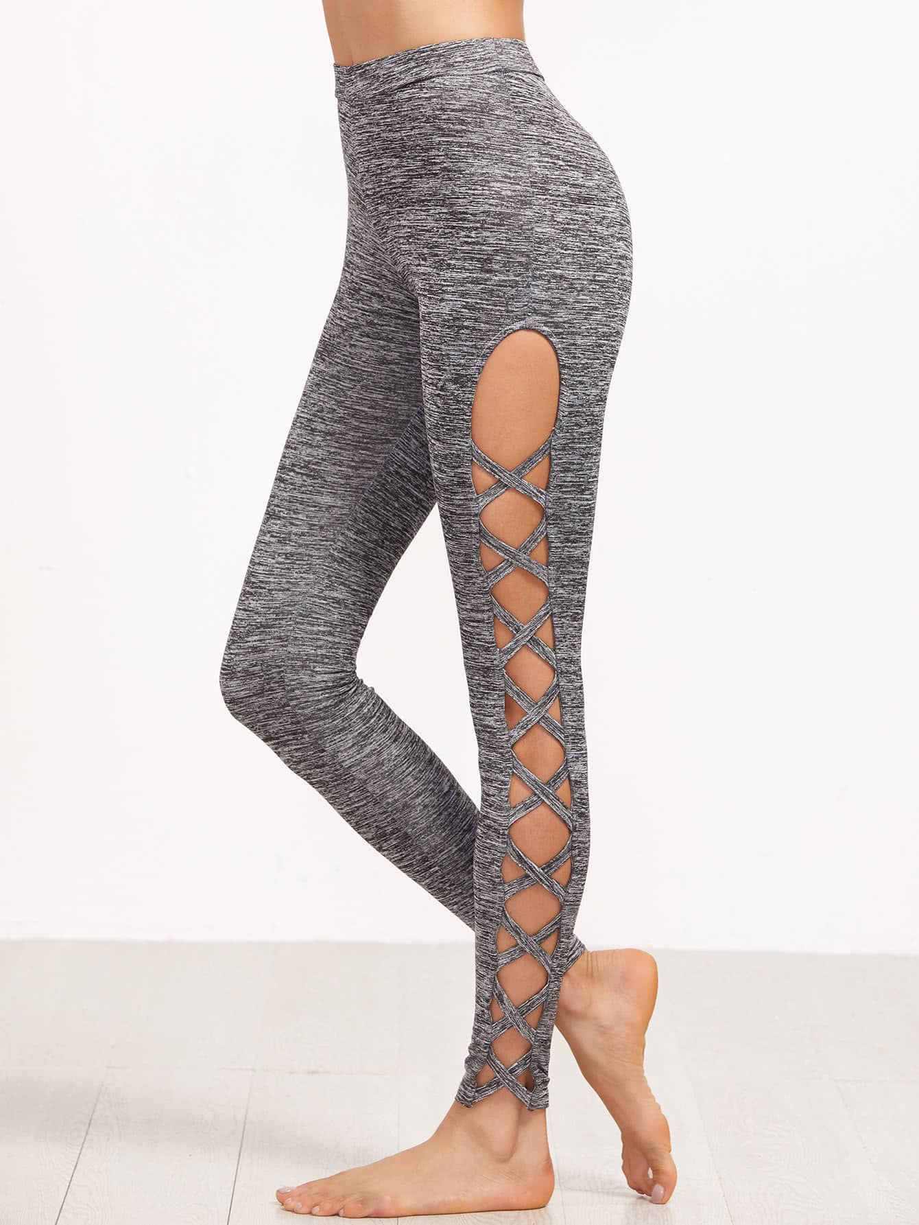 Marled Knit Cutout Lattice Detail Leggings marled knit topstitch stirrup leggings