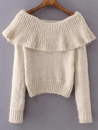 Beige Boat Neck Long Sleeve Sweater
