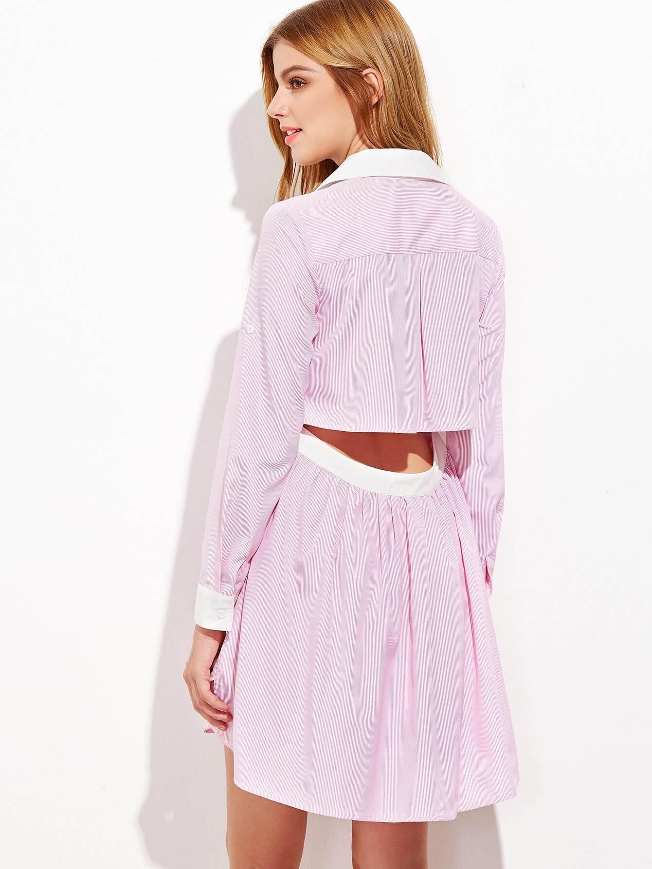 Pink Contrast Collar And Cuff Open Back Shirt Dress Shein